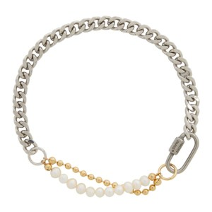 IN GOLD WE TRUST PARIS Silver and Gold Pearl Cuban Link Choker