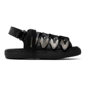 Toga Pulla Black Leather Hardware Sandals