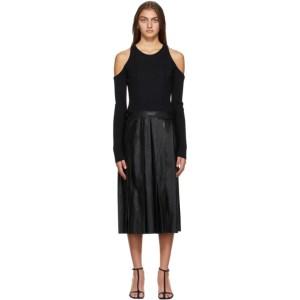 System Black Cropped Shoulder Knit Dress