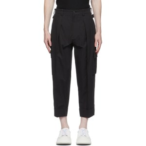 System Black Pleated Cargo Pants