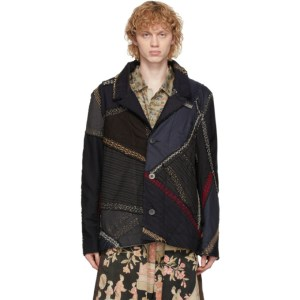 By Walid Navy and Grey Patchwork Max Jacket