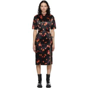 Meryll Rogge Black Bonded Satin Daisy Dress
