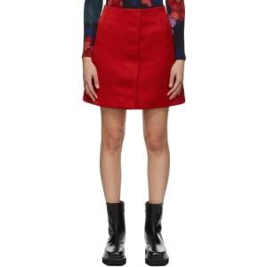 Meryll Rogge Red Silk Front Placket Skirt