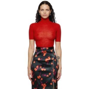 Meryll Rogge Red Wool Crepe Turtleneck