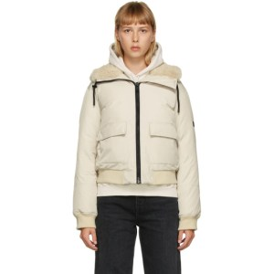 Yves Salomon - Army Beige Down Cropped Bomber Jacket