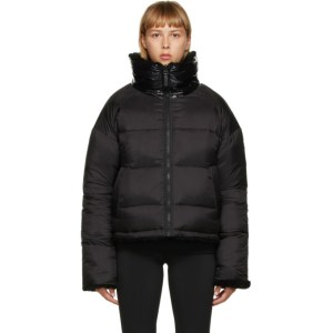 Yves Salomon - Army Reversible Black Down Sherpa Cropped Jacket