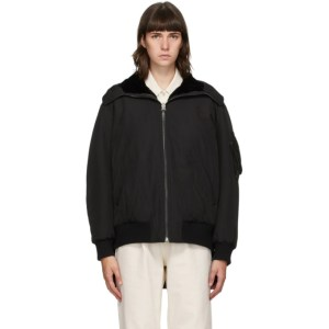 Yves Salomon - Army Reversible Black Shearling Bomber Jacket