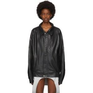 Lourdes Black Leather Back Cut-Out Jacket