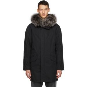 Yves Salomon - Army Black Down and Fur Coat