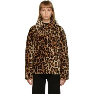 Yves Salomon - Meteo Brown Leopard Shearling Jacket