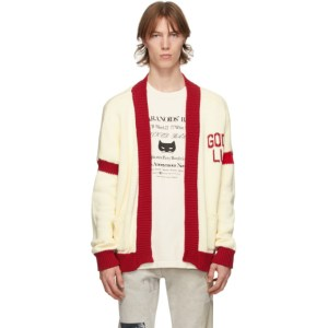 Mr. Saturday Beige and Red Good Luck Cardigan