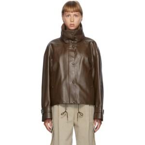 DRAE Brown Faux-Leather Blouson Jacket