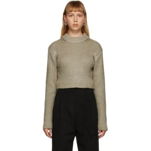 DRAE Beige Cropped Crewneck Sweater