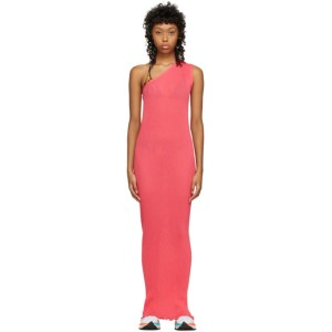 PRISCAVera SSENSE Exclusive Pink One-Shoulder Pleated Dress
