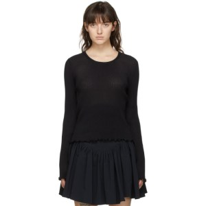 PRISCAVera Black Pleated Long Sleeve Top
