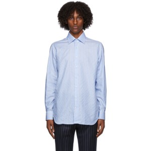 Husbands Blue and White Striped Windsor Shirt