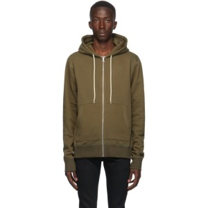 Naked and Famous Denim Green Heavyweight Terry Zip Hoodie