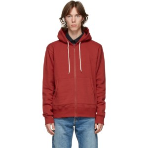 Naked and Famous Denim Red Heavyweight Terry Zip Hoodie