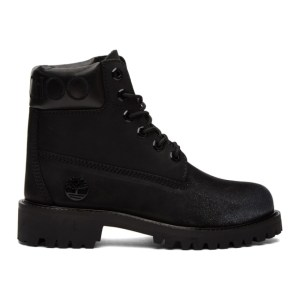Jimmy Choo Black and Gunmetal Timberland Edition Lace-Up Boots