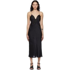 Mame Kurogouchi Black Embroidered Slip Dress