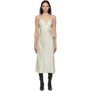 Mame Kurogouchi Off-White Embroidered Slip Dress