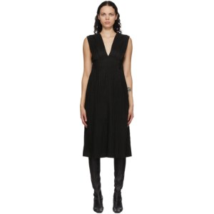 Mame Kurogouchi Black Ribbon Stripe V-Neck Dress