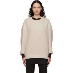 Mame Kurogouchi Off-White Wool Oversized Sweater