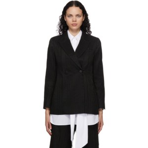 Mame Kurogouchi Black Ribbon Stripe Double-Breasted Blazer