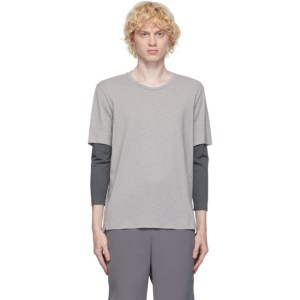 JACQUES Grey and Taupe Compression Long Sleeve T-Shirt
