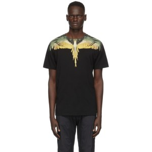 Marcelo Burlon County of Milan Black and Yellow Wings T-Shirt