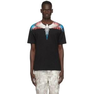 Marcelo Burlon County of Milan Black and Burgundy Wings T-Shirt