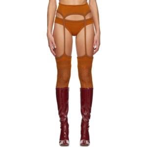 ISA BOULDER SSENSE Exclusive Orange Knit Leggings and Briefs Set