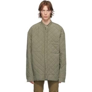 Haider Ackermann Khaki Quilted Oversized Shirt Jacket
