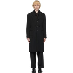 Yohji Yamamoto Black Notch Tab Coat