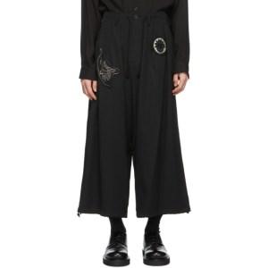 Yohji Yamamoto Black Wool Patches Trousers