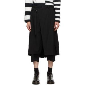 Yohji Yamamoto Black Wool Wrap Trousers