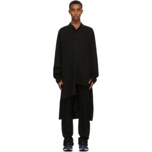 Yohji Yamamoto Black Asymmetric Message Shirt