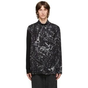 Yohji Yamamoto Black Graphic Turtleneck