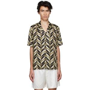 COMMAS Green and Black Silk Pavilion Tile Short Sleeve Shirt