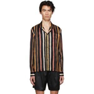 COMMAS Black Silk Solar Stripe Shirt