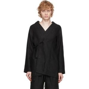 COMMAS Black Linen Robe Cardigan