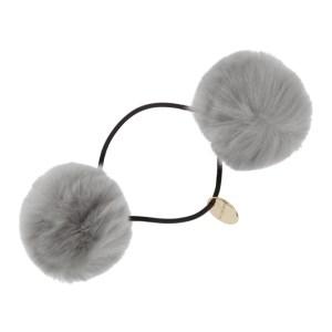 Yves Salomon Grey Fur Pom Pom Hair Tie