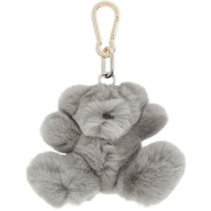 Yves Salomon Grey Rabbit Teddybear Keychain