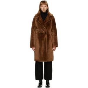 Yves Salomon Brown Fur Two-Tone Long Coat