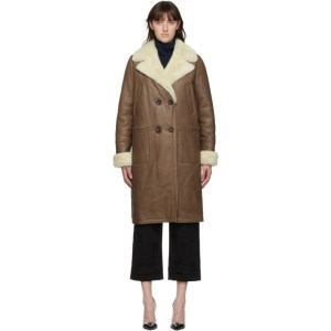Yves Salomon Brown Shearling Double-Breasted Coat