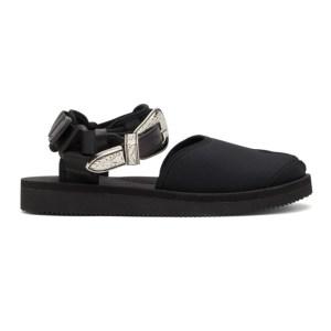 Toga Black Suicoke Edition Leather Tabi-SP Sandals