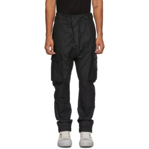 11 by Boris Bidjan Saberi Black Coated Cotton Cargo Pants