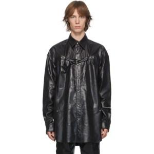 Johnlawrencesullivan Black Front Side Belted Shirt