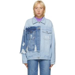 SJYP Blue Denim Color Contrast Jacket
