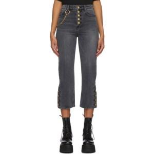 SJYP Black Side Button Jeans